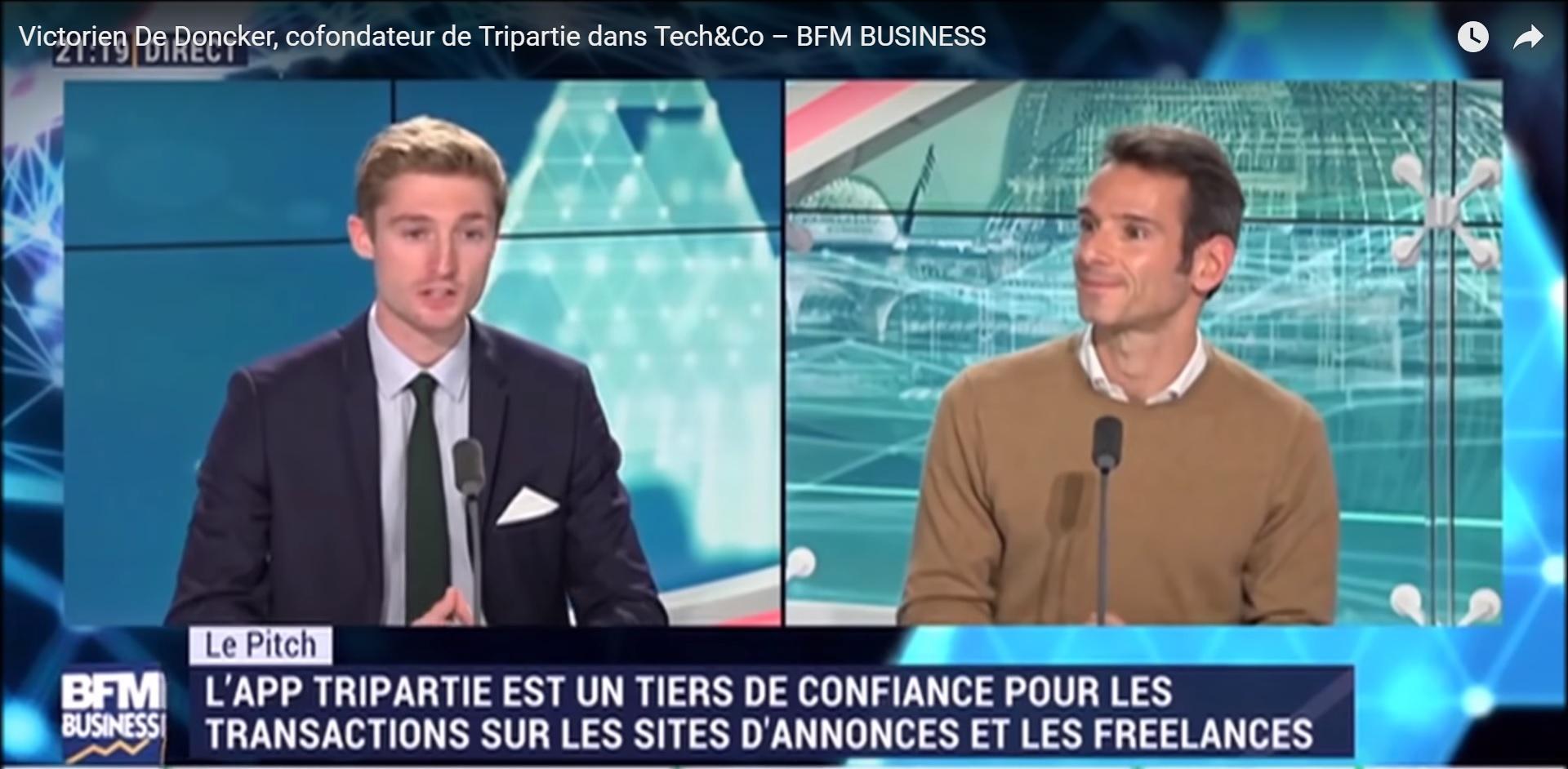 Tripartie cofounder Victorien presents his pitch on Tech & Co TV show